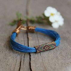 African Style Tribal Bracelet Azure Deep Blue Linen Colorful