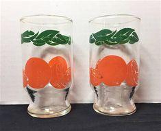 Anchor Hocking two orange juice glasses