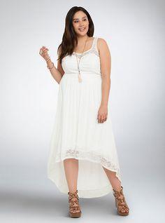Plus Size Lace Gauze Hi-Lo Maxi Dress, WHISPER WHITE