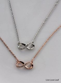 Infinity Necklace with rhinestones available in Rhodium and Rose Gold - Great Gift ideas by LiveLoveLeaf, Best friends necklace, Bridesmaid gift, Mother's Day, Birthday Gift