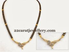 Jewellery Designs: Long Black Beads Set with Diamonds