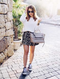 """sophiebstyle: """"Marianna Makela in a Massimo Dutti knit, Zara shorts, Converse sneakers and Celine bag in a post from her blog 'Mariannan' on January 13, 2017. """""""