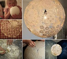 DIY Lacey Doily Lamp: Re-purpose those old doily into this fabulous decorative lamp! This is a great DIY you'll love to try and it's sure to impress your family and friends! Doily Lamp, Lace Lamp, Doilies Crafts, Lace Doilies, Lampe Crochet, Diy And Crafts, Arts And Crafts, Cloud Lights, Creation Deco