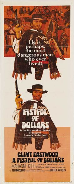 A Fistful Of Dollars insert movie poster. Sergio Leone. Clint Eastwood.