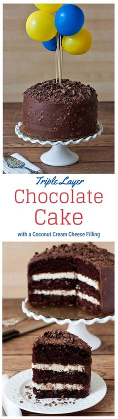 A Triple Layer Chocolate Cake with a Coconut Cream Cheese Filling