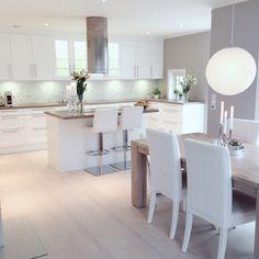 45 Trendy Home Interior Livingroom Colour Schemes Salons Open Plan Kitchen Living Room, Kitchen Room Design, Modern Kitchen Design, Home Decor Kitchen, Interior Design Kitchen, New Kitchen, Home Kitchens, Interior Livingroom, Kitchen White