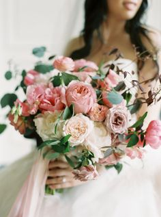 Romantic wedding bouquet, blush and pink florals, silk ribbons, feminine floral arrangement, pin to your own inspiration board // Alicia Ann Photographers