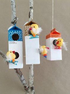 Make Your Own Milk Carton Birdhouse Village - Handmade Charlotte Craft Activities, Preschool Crafts, Craft Projects, Crafts For Kids, Homemade Bird Houses, Bird Houses Diy, Fairy Houses, Birdhouse Craft, Recycled Crafts