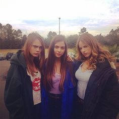"""Day 23. The bad girls of #papertowns,"" Schreier wrote of the gorgeous Cara, Caitlin Carver, and Halston Sage. #refinery29 http://www.refinery29.com/2015/03/84105/paper-towns-trailer-premieres-cara-delevingne-instagram#slide-11"