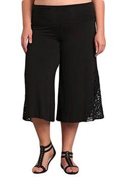 6c65e5cf8db6a Fashion Bug Plus Size Women s Solid Tie Dye Wide Leg Flared Capri Boho  Gaucho Pants w