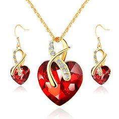 167b8939de16 Morenitor ♥ Mothers Day Gifts ♥ Crystal Heart Necklace Earrings Jewelry Set  Gold Plated Necklace Sets for Women Bridal Wedding Accessories