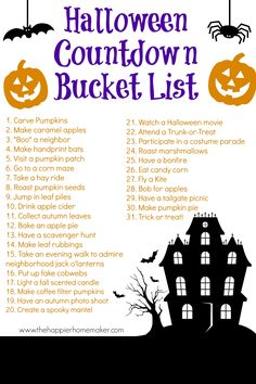 Halloween Countdown Bucket List