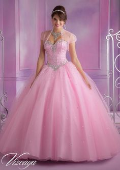 Quinceanera Dress From Vizcaya By Mori Lee Dress Style 89017 Tulle Quinceanera Gown with Beading