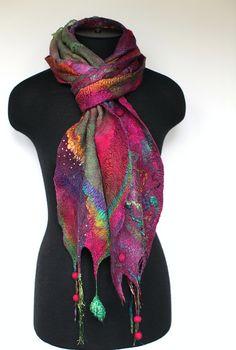 What a pretty scarf! Nuno Felted Scarf by FeltedPleasure, via Flickr