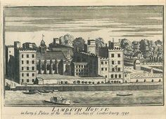 Lambeth Palace c.1740 (mirror image).Print bequeathed by Mr Roger Payton. Note coach on ferry.