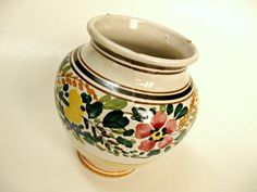 Vintage Majolica colorful handmade, painted vase. Italy, signed, 50's