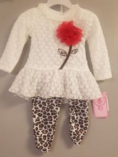 8c200513d New w/o tags 2 piece Nannette leaopard and cream toddler girl outfit size 18