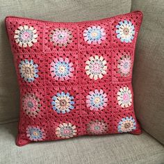 Cushion cover, red pillow case, crochet floral throw pillow, new home gift