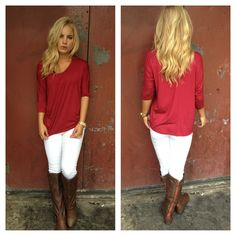 White pants read top and brown boots.. So cute!