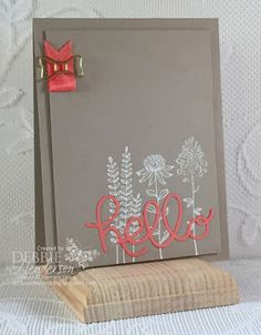 Control Freaks February Blog Hop using Stampin' Up! Flowering Fields and Hello You Thinlits Dies. Debbie Henderson, Debbie's Designs.