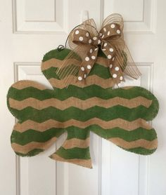 Extra Large St. Patrick's Day Burlap Shamrock Door or by SnappyPea