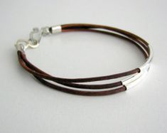 Items similar to Brown Leather Bracelet with Silver Tube Accents (also available in GOLD) on Etsy