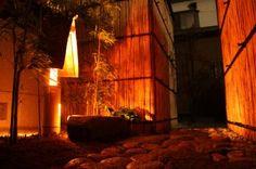 大阪阿倍野 古民家ゲストハウスおどり 庭の灯り