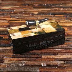 Personalized Ox Horn Handle Desktop Stationery Business Gift - Teals Prairie & Co. Desktop Organization, Business Gifts, Gift Packaging, Ox, Customized Gifts, Horns, Custom Design, Stationery, Teal
