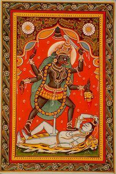 Kali - The Black Goddess, Tantra Orissa's Paata PaintingWater Color on PattiArtist Rabi Behera Kali Goddess, Indian Goddess, Black Goddess, Durga Kali, Shiva, Tantra Art, Indian Illustration, Kali Ma, Indian Folk Art