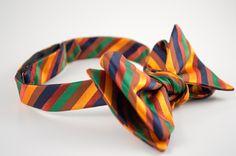 Orange Green Stripe Bowtie - King Kravate - The Neckwear Of Kings
