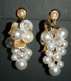 "Fabulous Chunky Vtg Chandelier Pearl Earrings Cluster Grapes Design 3""Gold Leaf #Chandelier"