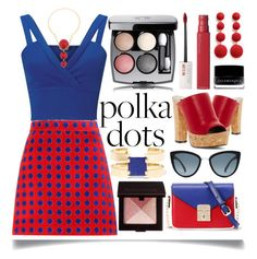 """""""Polka Dots For Summer"""" by ittie-kittie ❤ liked on Polyvore featuring Miss Selfridge, Miu Miu, Michael Antonio, WithChic, Topshop, Chanel, Kenneth Jay Lane, Laura Mercier, Maybelline and Isabel Marant"""