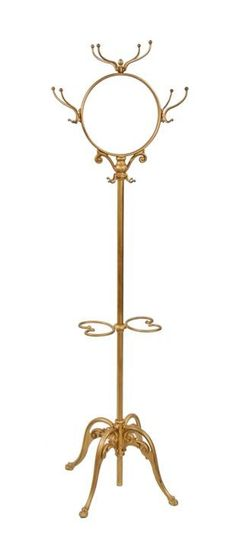 all original early 20th century metallic gold enameled ornamental cast iron freestanding coat rack or stand