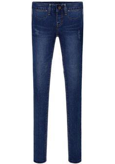 Navy Pockets Bleached Slim Denim Pant 22.83