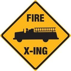 Fire Truck Crossing Tin Sign