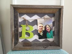 Open Rustic Wooden Frame with Gray & White Chevron Material with picture hanger and painted initial on Etsy, $30.00