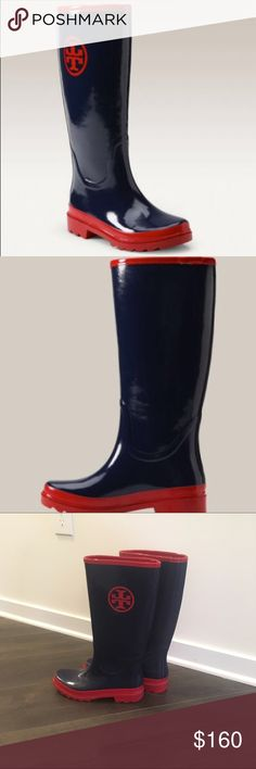 Tory Burch Rain Boots Navy and red rain boots. Only worn 2-3 times, some minor scuff marks that are not noticeable when worn. In excellent condition ! Tory Burch Shoes Winter & Rain Boots