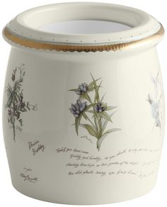 Prairie Flowers Design On Biscuit Floor Container