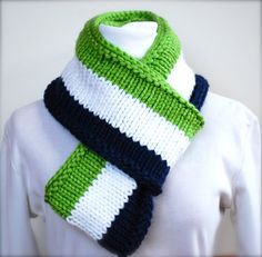 SEATTLE SEAHAWKS Infinity Scarf or Cowl for SUPER BOWL 2014 - by AquaLumen, $80.00