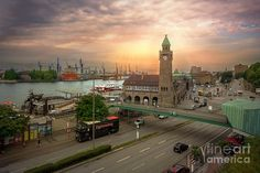Hamburg Harbor by Daniel Heine This picture shows the harbor of Hamburg, Germany. It's one of the most visited places for tourists in the country. Hamburg Poster, Most Visited, Picture Show, Big Ben, Paris Skyline, Old Things, Tower, Country, Heine