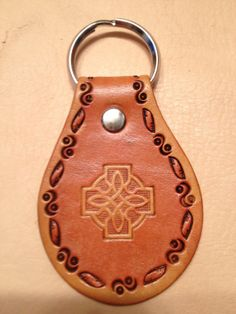 Hand Tooled Leather Key Fob Celtic Cross with by LykosLeathers, $5.00