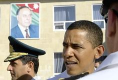 A 2005 trip taken by Barack Obama included a stop in Azerbaijan. He stands here with a picture of former President Geidar Aliev in the background.
