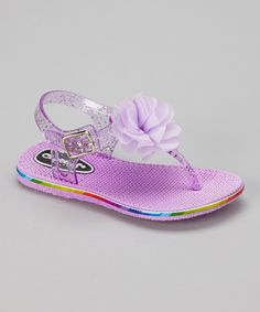 Love this Chatties Lilac Flower Jelly T-Strap Sandal by Chatties on #zulily! #zulilyfinds