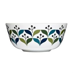 Retro bowl has a pattern inspired by design from the sixties. From Swedish Sagaform.