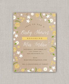 Kraft Floral Baby Shower Invitation by announcingyou on Etsy Floral Baby Shower, White Envelopes, Baby Shower Invitations, Frame, Prints, Cards, Etsy, Picture Frame, Shower Invitation