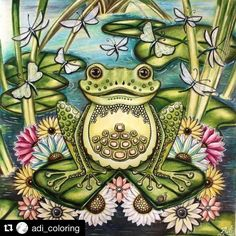 Frog enchanted forest by Adi_colouring Secret Garden Coloring Book, Coloring Book Art, Adult Coloring Book Pages, Colouring Pages, Enchanted Forest Book, Enchanted Forest Coloring Book, Johanna Basford Secret Garden, Johanna Basford Coloring Book, Polychromos