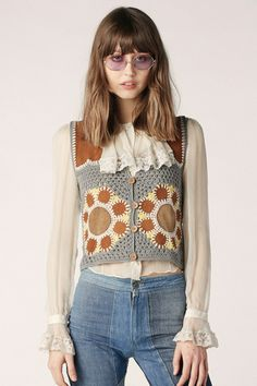 Flower Power Crochet Suede Vest