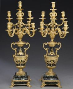 Pr. Louis XVI style bronze dore and marble 9-light : Lot 197