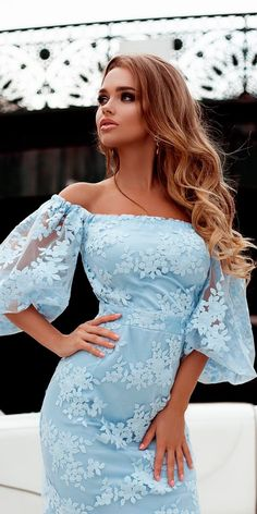 beach wedding guest dresses blue lace off the shoulder floral with sleeves liliya petrova African Fashion Dresses, African Dress, Blue Wedding Dresses, Prom Dresses, Beach Dresses, Elegant Dresses, Pretty Dresses, Lace Dress Styles, Classy Dress