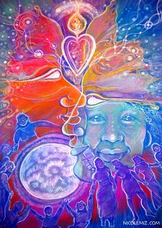 Moon mamas - Visionary art by Nicole Mizoguchi - Women gather around the moon celebrating and sharing their talents.